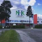 Montage av skylt NHK Arena