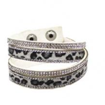 Armband leopard grå långt - dubbelt