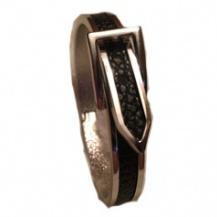 Bältesarmband silverfärg svart