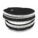 Armband leopard svart långt - dubbelt - Armband leopard svart 160008