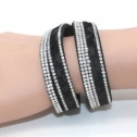 Armband leopard svart långt - dubbelt