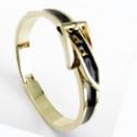 Bältesarmband på guldfärg Vit - Svart på guldfärg