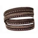 Armband nitar å bling Svart långt - dubbelt - Armband nitar bruna 160026
