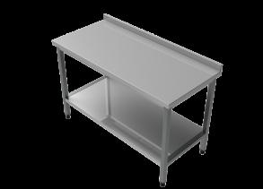 Rostfri arbetsbänk med bakkant 140 cm - Rostfri arbetsbänk med bakkant 140 cm