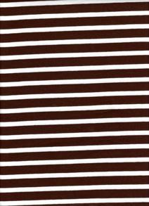 Randig Trikå - Brun/vit Smal/bredrandig trikå 6mm, 13 mm 92 % Bomull 8 % elastan Bredd: 150 cm