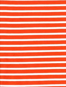 Randig Trikå - Orange/vit Smal/bredrandig trikå 6mm, 13 mm 92 % Bomull 8 % elastan Bredd: 150 cm