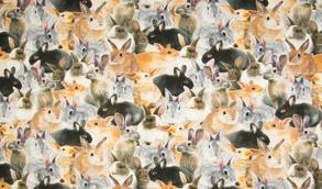 Digitaltryck - Kaniner Digitaltryck 92% BOMULL 8% ELASTANBREDD 160 cm