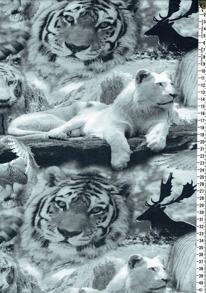 Digitaltryck - Svart/vita kattdjur Digitaltryck 92% BOMULL 8% ELASTAN BREDD 160 cm