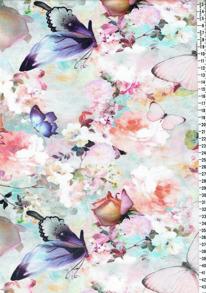 Digitaltryck - Pastellfjärilar Digitaltryck 92% BOMULL 8% ELASTAN BREDD 160 cm