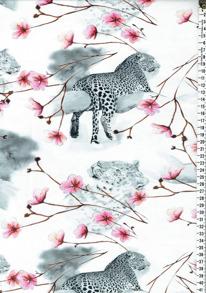 Digitaltryck - Geopard med rosa blommorDigitaltryck 92% BOMULL 8% ELASTAN  BREDD 160 cm
