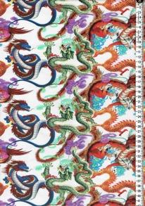 Digitaltryck - orientalisk drake Digitaltryck 92% BOMULL 8% ELASTAN bredd 160cm