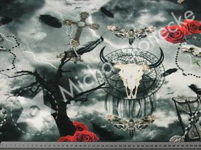 Digitaltryck - Digitaltryck Gothic Thunder Material:92% Baumwolle, 8% Elasth Bredd: ca 160 cm