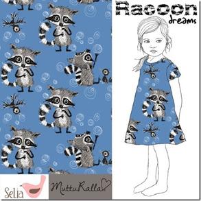 Raccon i sommriga färger - ljusblå