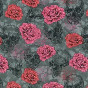 Dödskalle och rosor