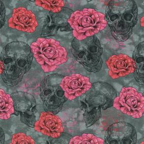 Dödskalle och rosor - Dödskalle med rosor