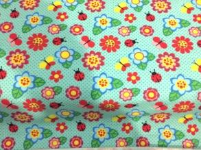 Små fjärilar och blommor i blå/grönt - Små fjärilar och blommor i blå/grönt