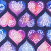 Ornament Hearts Dark Blue
