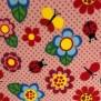 Små fjärilar och blommor i rosa