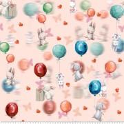 Små kaniner med ballonger