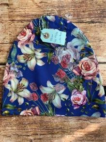 mössa blå med blommor - mössa blå med blommor stl 56/58