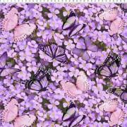 lila blommor och fjärilar