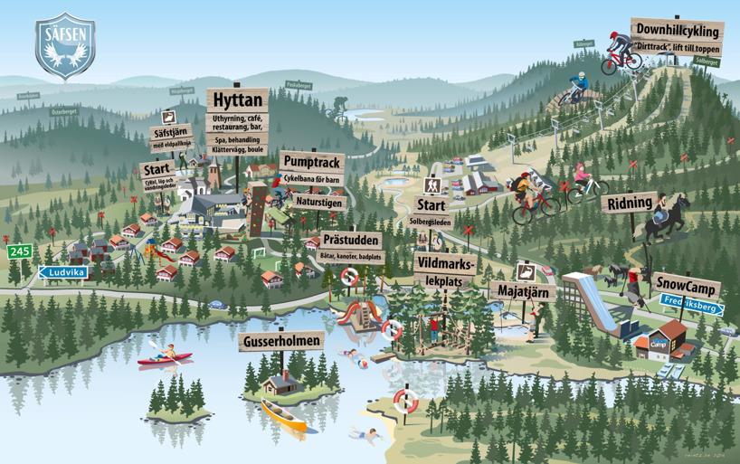 Säfsen, Sweden map illustration 2015