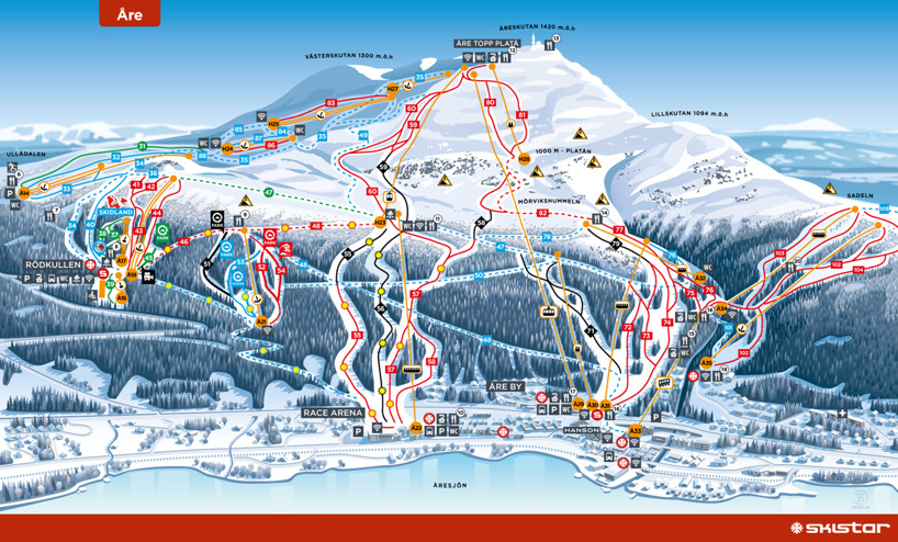 Åre, Sweden piste map 2016