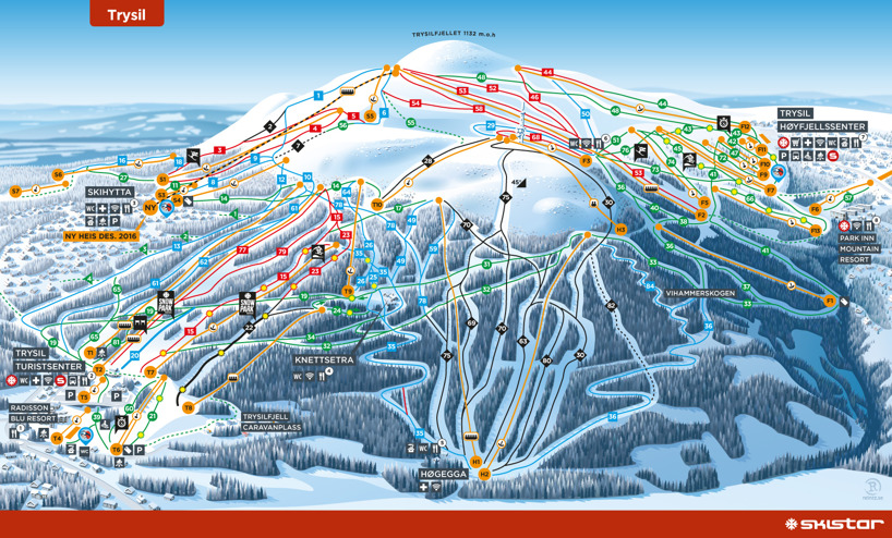 Trysil, Norway piste map 2016