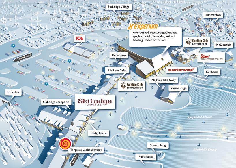 Lindvallen, Sälen, Schweden illustrierte Karte 2010