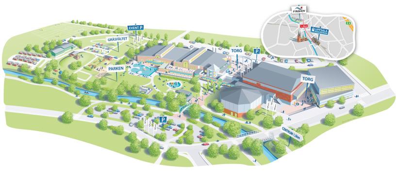 Fyrishov, Uppsala, Schweden illustrierte Karte 2014