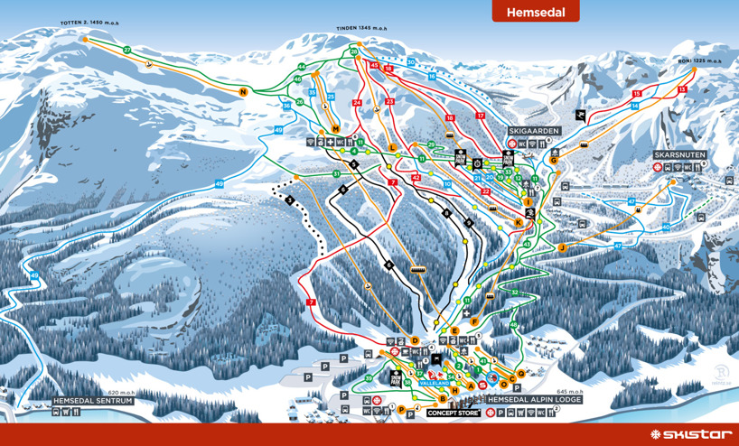 Hemsedal, Norway piste map 2016