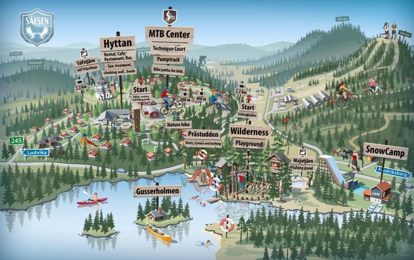 Säfsen, Sverige illustrerad karta 2015