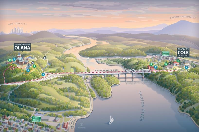 Hudson River Skywalk map illustration, New York, USA 2019