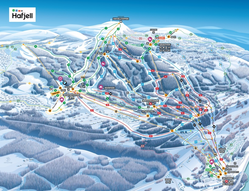 Hafjell, Norway piste map 2018