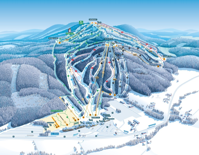 Romme Alpin, Sweden piste map 2017, updated 2019