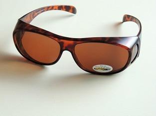 Solskydd ovanpå brun oval med ljusbruna glas - 135 mm inuti