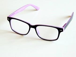 Läsglas svarta med rosa kant och läsruta