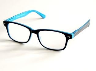 Läsglas svarta starka med blå kant