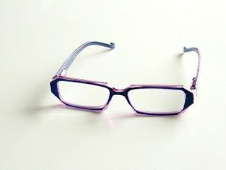 Läsglas kantig blårosa