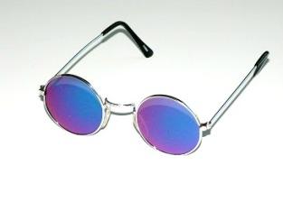 Solglas runda med blå spegel
