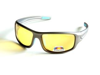 Polariserande solglas med gula glas sportig ,ljus brun