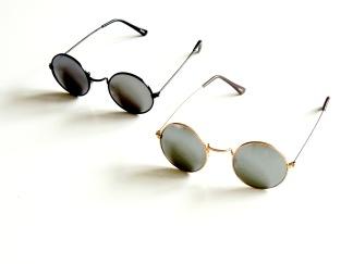 Solglas runda med spegel