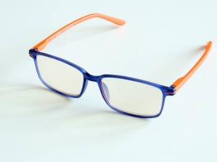 Skärmglas Göta blå/orange med styrka +1,0