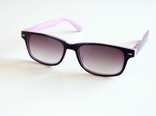 Solläsglasögon svarta med rosa kant