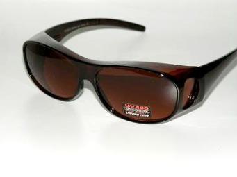 Solskydd ovanpå bruna med rödbruna glas - 135 mm inuti