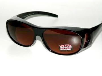 Solskydd ovanpå svarta med rödbruna glas - 135 mm inuti