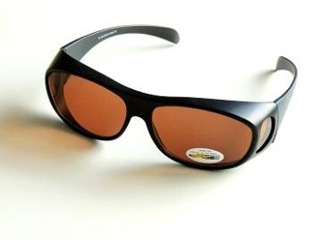 Solskydd ovanpå svarta oval med ljusbruna glas - 135 mm inuti