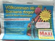 tidningsartikel om Barnens helg eventet på Ica Maxi Ystadvägen Malmö
