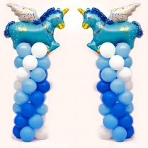 blå ballongpelare