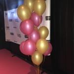 ballongbukett rosa guld